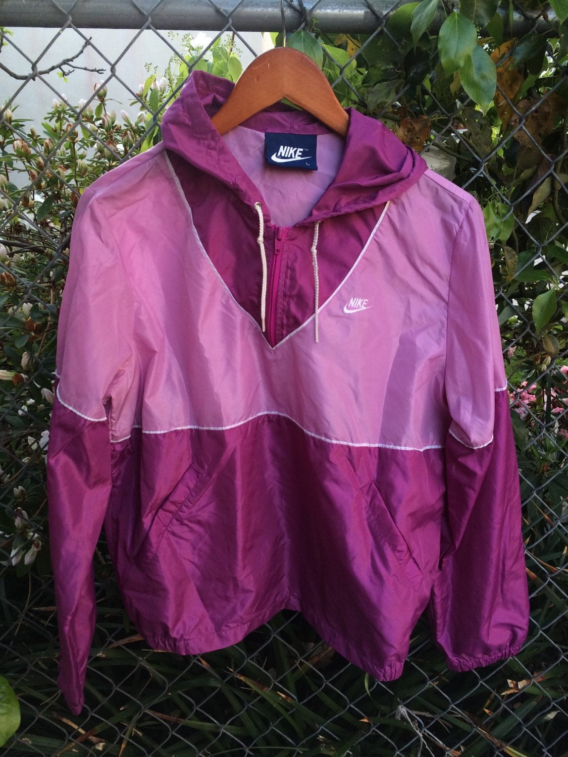 vintage 80s nike two tone pink windbreaker half zip pullover. Black Bedroom Furniture Sets. Home Design Ideas