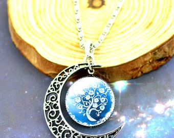 Crescent cabochon necklace tree of life tree of life