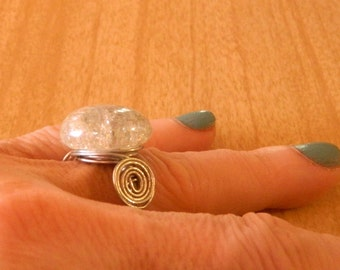 Handmade Quartz Fractured Glass Ring – Size 8 – Wire Wrapped
