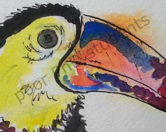 Toucan ORIGINAL watercolor