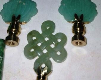 "REDUCED..!!  Vintage Malachite ""Custom"" Lamp Shade finials...Circa 1940s - 1950s"