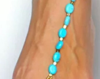 Turquoise And Gold Beaded Barefoot Sandal