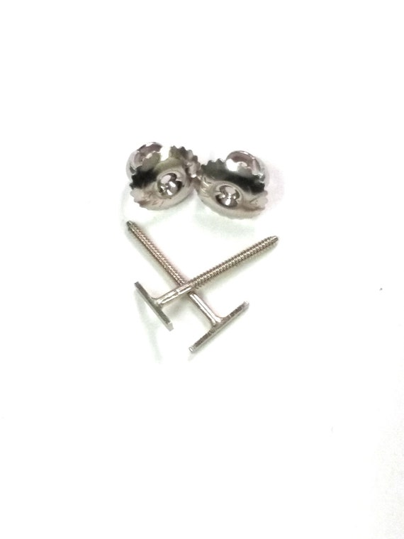 t bar earrings 14k real solid white gold stud tiny bar screw