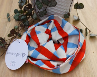 Blue and Red Check Scrunchy. Minimalist, Modern Design