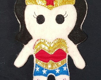 Wonderwoman doll - super hero - felt