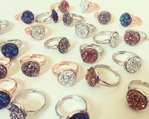 12mm Faux Druzy Ring - Available with Rose Gold or Silver Plated Ring