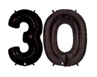"Black 30 Balloons, 40"", Black, 30th Birthday Balloons, Number 30, Birthday, 30, Anniversary, Thirty, Over The Hill, 30th Birthday"
