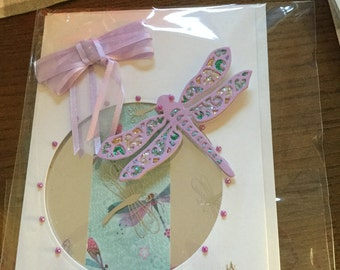 Homemade dragonfly birthday card