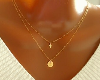 Layered tiny cross and disc necklace, All 14K gold filled, personalized necklace, personalized letter, personalized gift