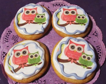 Owl Baby Shower sugar cookies