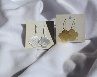 Quatrefoil Earrings, Clover Earrings, Closed Quatrefoil or Clover Earrings In Gold and Silver