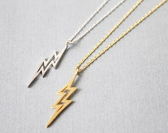 Gold and Silver Lighting Bolt Necklace . Thunder Bolt Charm Necklace Dainty and Delicate Necklace Birthday Gift