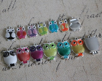 6pcs-Cute Rainbow Owl Charms,Enamel Owl Charms, Owl Pendants, Silver Plated Owls, Jewelry Making, Metal Charms