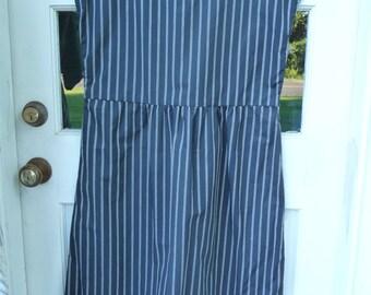 Dress Boat Neck Navy with White Stripes Cotton Fabric Horizontal Hem Kimono Sleeves  Cute!