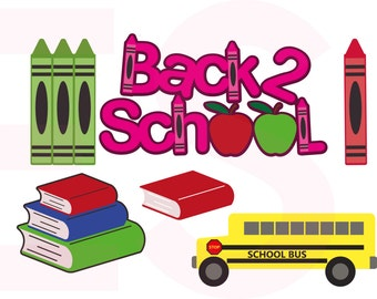 Back to School svg - set, Teacher svg, Book svg, School bus svg, SVG, DXF, EPS, cut files, for Silhouette Studio and Cricut Design space.