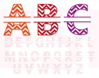 Chevron Split Alphabet Monogram font, SVG, DXF, EPS. vinyl cut files for use with Silhouette Studio and Cricut Design Space.