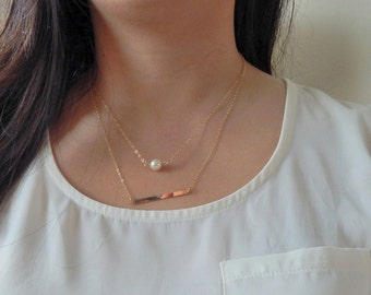 Simple layered gold necklace, set of 2 necklaces, Cream pearl necklace with horizontal bar necklace, single pearl necklace,thin gold chain