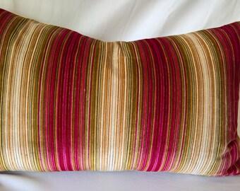 """Kravet Couture IN THE MOOD pomegranate Italian Striped Cut Velvet Pillow 14""""x24"""""""