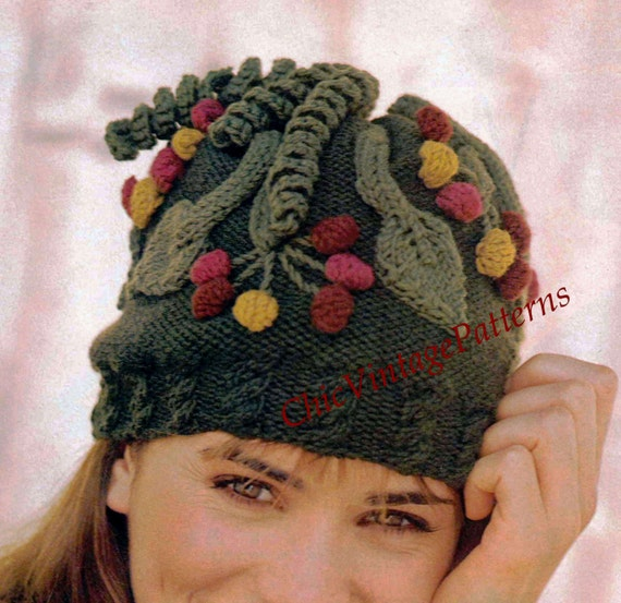 Knitting Pattern Vintage Hat : Knitted Hat .. Vintage PDF Knitting Pattern .. Stunning Winter