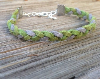 braided suede green and silver bracelet