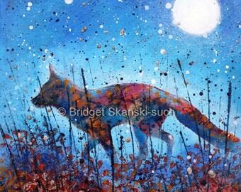 Autumn Fox/Autumn colours/ limited edition/print/moon/countryside/wildlife/animal art/wall art/bridget skanski-such/animal gift/reynard