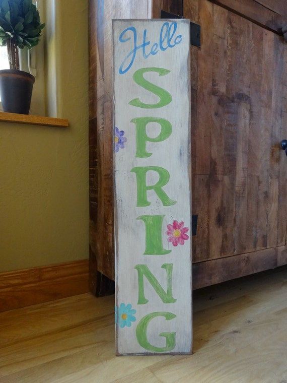 Items Similar To Hello Spring Sign 6x26 Hand Painted Wood