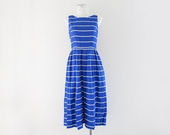 Vintage Blue Striped Dress // Boho Blue Dress // Tank Dress // Cotton Dress // Vintage Women's Clothing