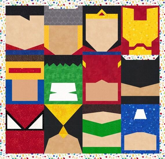 Super Heroes 12 Quilt Block Patterns Superman Batman Thor : batman quilt pattern - Adamdwight.com