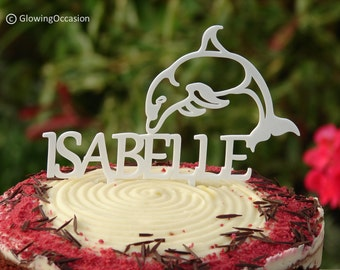 Dolphin Cake Topper Decoration With Personalised Name