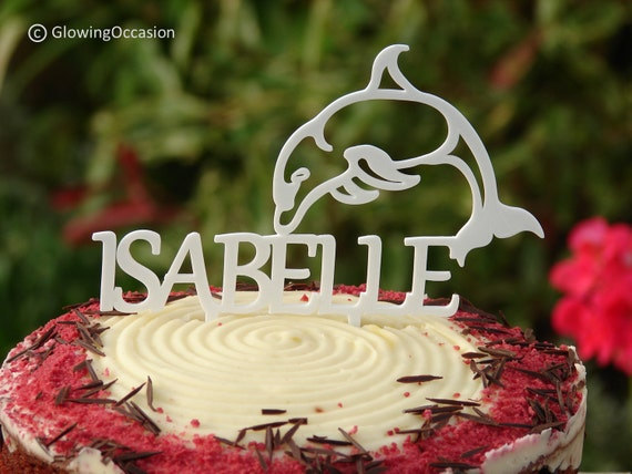 Cake Toppers Uk Personalised : Dolphin Cake Topper Decoration With Personalised Name