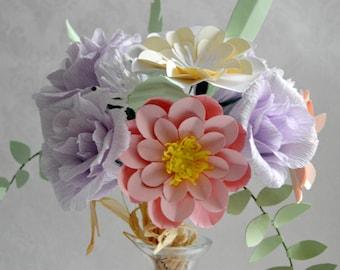 Paper flower bouquet wedding bridal bouquet crepe paper flowers  ( FE8754933)