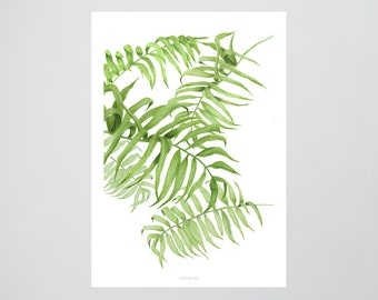 Tropical No. 1 / Palm Trees, Leafs, Green, Typography Art, Kunstdruck Poster, Wall-Art