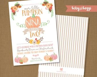 Pumpkin Patch Invite // Our Little Pumpkin Birthday Invite // Pumpkin Birthday Invite // Fall Birthday // Printable Invite