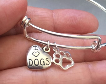 Dog bracelet-sterling silver charm and bracelet