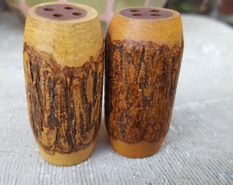 Carved Wooden Salt and Pepper Shakers