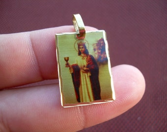 Saint Barbara Square medal religous pendant, Stamped Hecho en Mexico on back Vintage New old stock,Gold plated