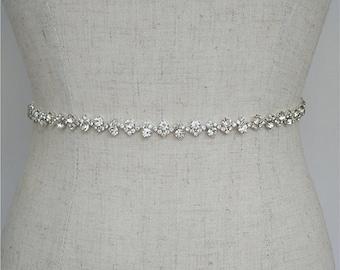 Silver Clasp Belts,Bridal Belt,Wedding clasp belt,Gold Wedding Belt,Sapphire Bridesmaid Belt,Crystal Sash Belt,Bridal Sash W150232-2