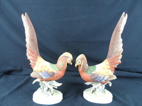 "Vintage Lefton Large 11"" Golden Pheasant Bird Figurines Hand Painted Porcelain"