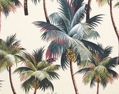 """Palm Tree Fabric, Tropical Upholstery Hawaii, Palm Leaf, High Quality Fabric, Furniture Bedding Curtains Fabric, 56""""Wide, HCV8260-Cream"""