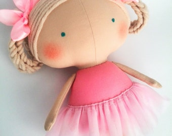 Birthday girl gifts Ballerina doll Gift girl Rag doll Tilda Rose outfit Personalized doll Toys for girls Fabric doll Stuffed doll Cloth doll