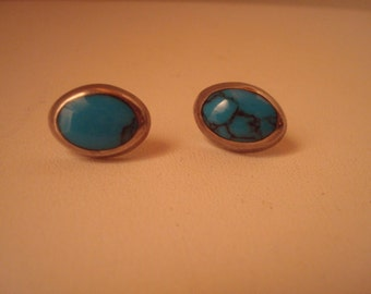 Vintage sterling and turquoise pierced earrings