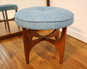 G Plan Astro Stool, Re Upholstered in Turquoise.