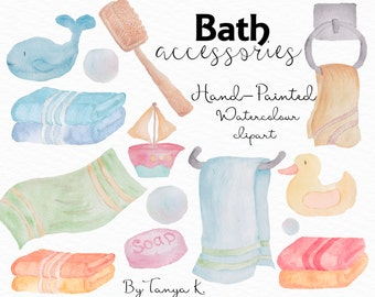 Watercolor Clipart, Hand-Painted Clipart, Bathroom Clipart, Watercolor Art, Kids