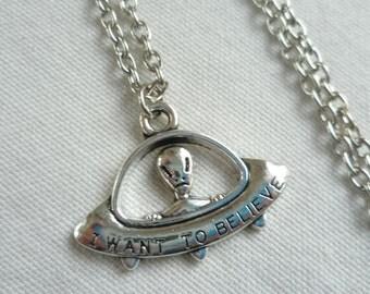 Alien necklace,UFO necklace,space jewellery,alien jewelry,sci -fi jewellery,geek jewelry,handmade,gift,space ship pendant,simple necklace