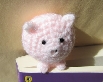 Book Buddy Piggy Bookmark - Crochet Amigurumi Gift, Toy, Finished Product