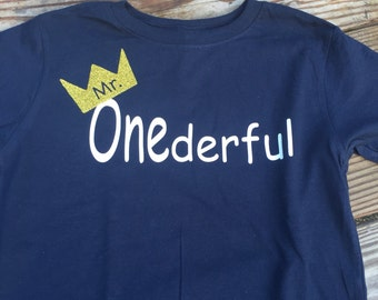 First birthday outfit, mr onederful shirt, infant 1 year shirt, photograph ready, birthday shirt