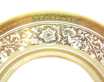 Vintage Minton Plate Salad Dessert Gold Porcelain Ball