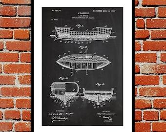 Lifeboat Patent, Lifeboat Poster, Lifeboat Blueprint,  Lifeboat Print, Lifeboat Art, Lifeboat Decor
