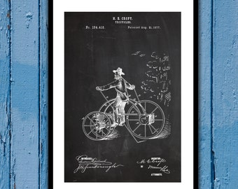 1877 Tricycle Patent, Tricycle Poster, Tricycle Blueprint,  Tricycle Print, Tricycle Art, Tricycle Decor