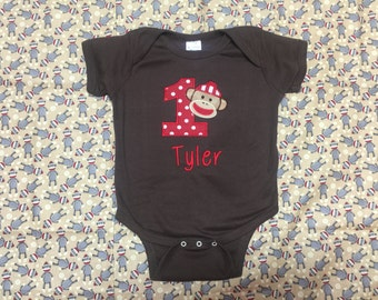 Sock Monkey shirt with embroidery applique